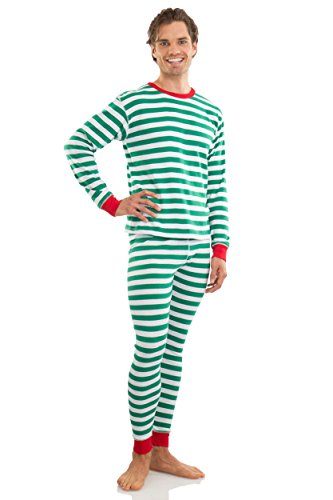 Elowel Adult Womens Mens Green And White  Christmas Fitted Striped Pajamas 100% Cotton