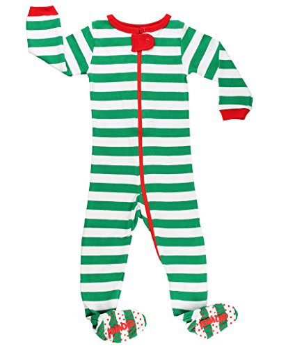 Elowel Baby Boys Girls Footed Christmas Green & White  Pajama Sleeper Cotton Size 6 Month -5 Years