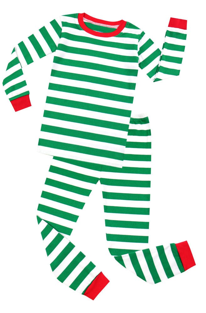 Elowel Boys Girls Christmas Green & White 2 Piece Kids Pajamas Set 100% Cotton 6M-12Y