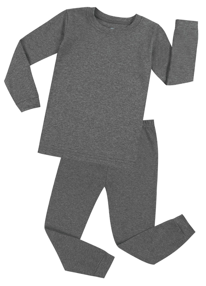 Elowel Boys Girls Grey Solid 2 Piece Pajama Set 100% Cotton (Size 12 Months -12 Years)