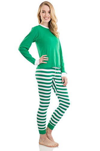 Elowel Adult Womens Mens Green Top & Green White Pants  Christmas Fitted Striped Pajamas 100% Cotton