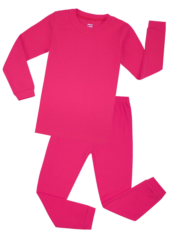Elowel Boys Girls Hot Pink Solid 2 Piece Pajama Set 100% Cotton (Size 12 Months -12 Years)