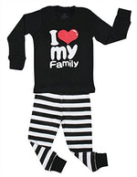 "Elowel ""I Love Family"" 2 Piece Pajama Set 100% Cotton Size 12 Months-12 Years"