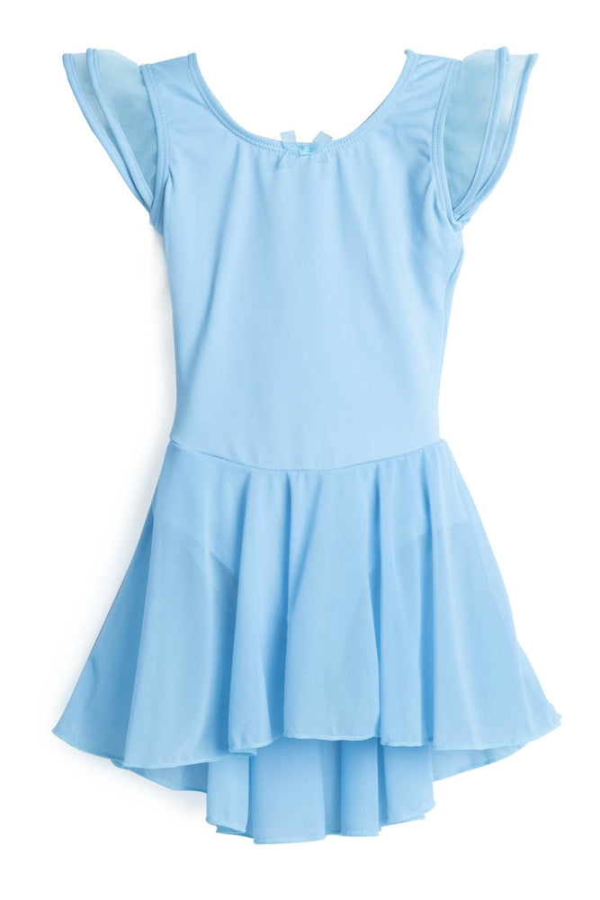 Elowel Kids Girls Flutter Leotard Dress  (Size 2-14 Years) Light Blue