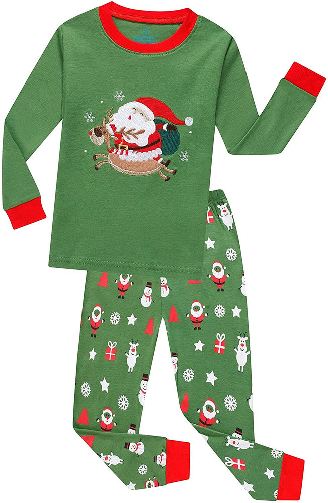 Elowel Boys Girls Merry Santa Christmas 2 Piece Kids Pajamas Set 100% Cotton Size 3 Green