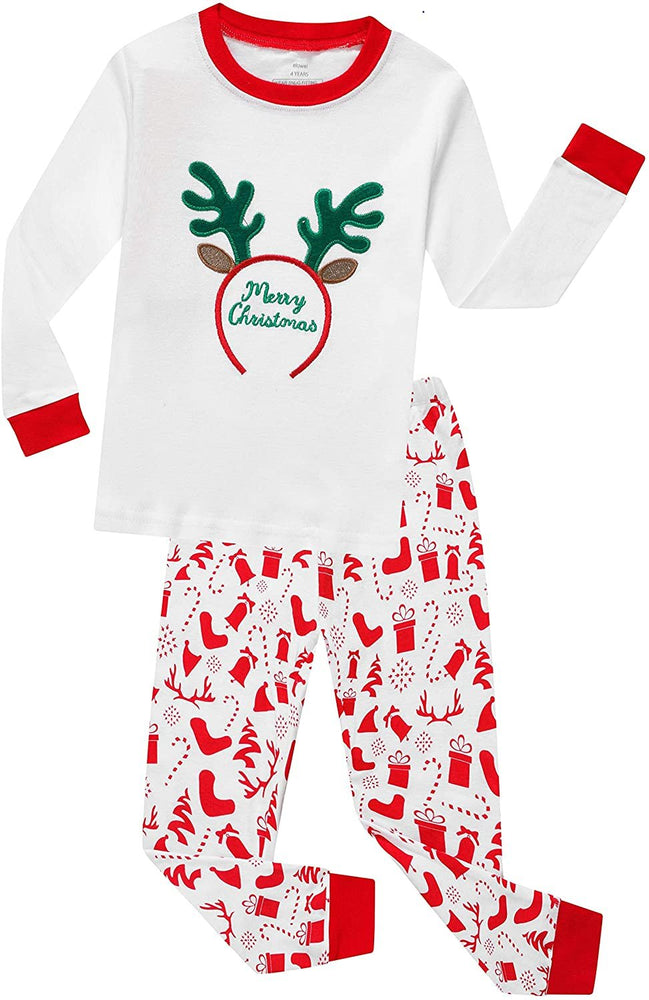 Elowel Boys Girls White Merry Christmas 2 Piece Kids Pajamas Set 100% Cotton 6M-12Y
