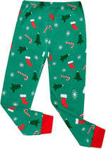 Elowel Boys Girls Santa Sock Christmas 2 Piece Kids Pajamas Set 100% Cotton Size 18-24 Green