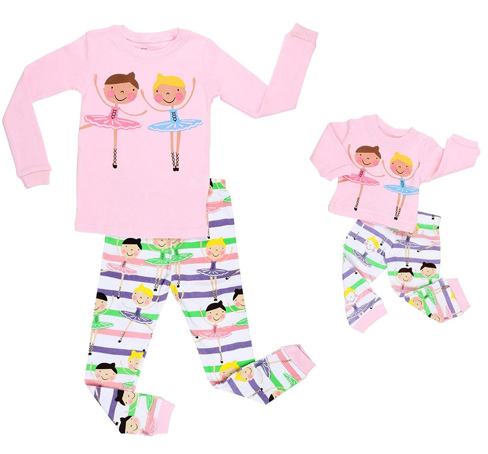 Elowel Ballerina Matching Girl & Doll 2 Piece Pajamas 100% Cotton (12 Years)