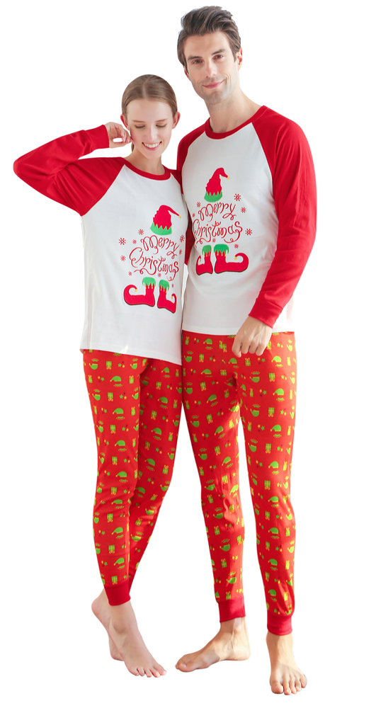 Elowel Family Merry Red & Green Christmas 2 Piece Pajamas Set 100% Cotton