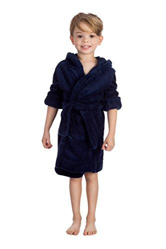 Elowel Boys Girls Navy Hooded Childrens Fleece Sleep Robe Size 2 Toddler -14Y