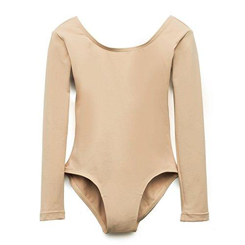 Elowel Kids Girls' Basic Long Sleeve Leotard (Size 2-14 Years)  Nude