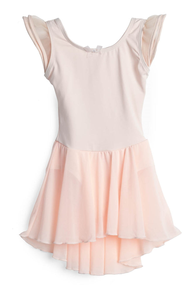 Elowel Kids Girls Flutter Leotard Dress  (Size 2-14 Years) Nude Pink