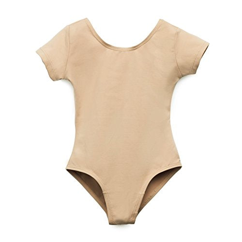 Elowel Kids Girls' Basic Short Sleeve Leotard (Size 2-14 Years) Nude