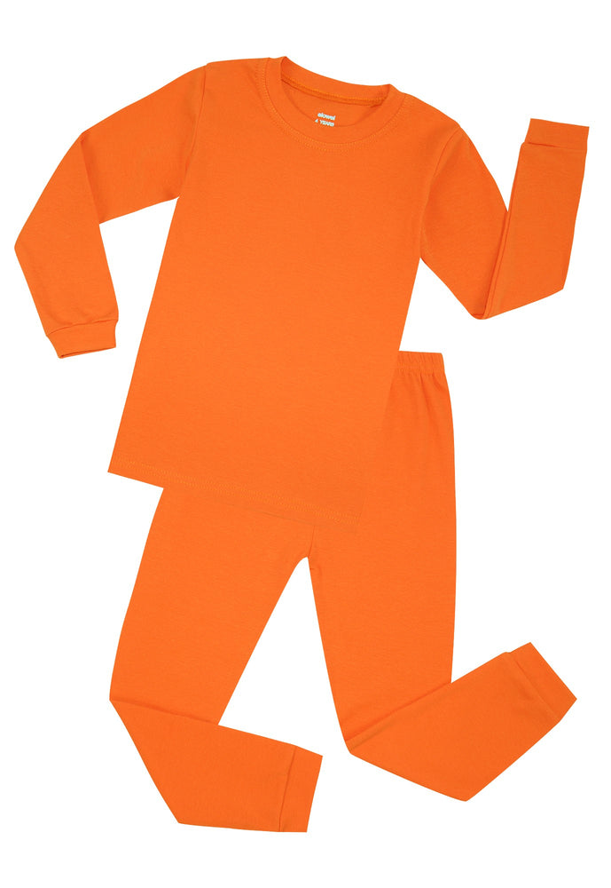 Elowel Boys Girls Orange Solid 2 Piece Pajama Set 100% Cotton (Size 2-12 Years)
