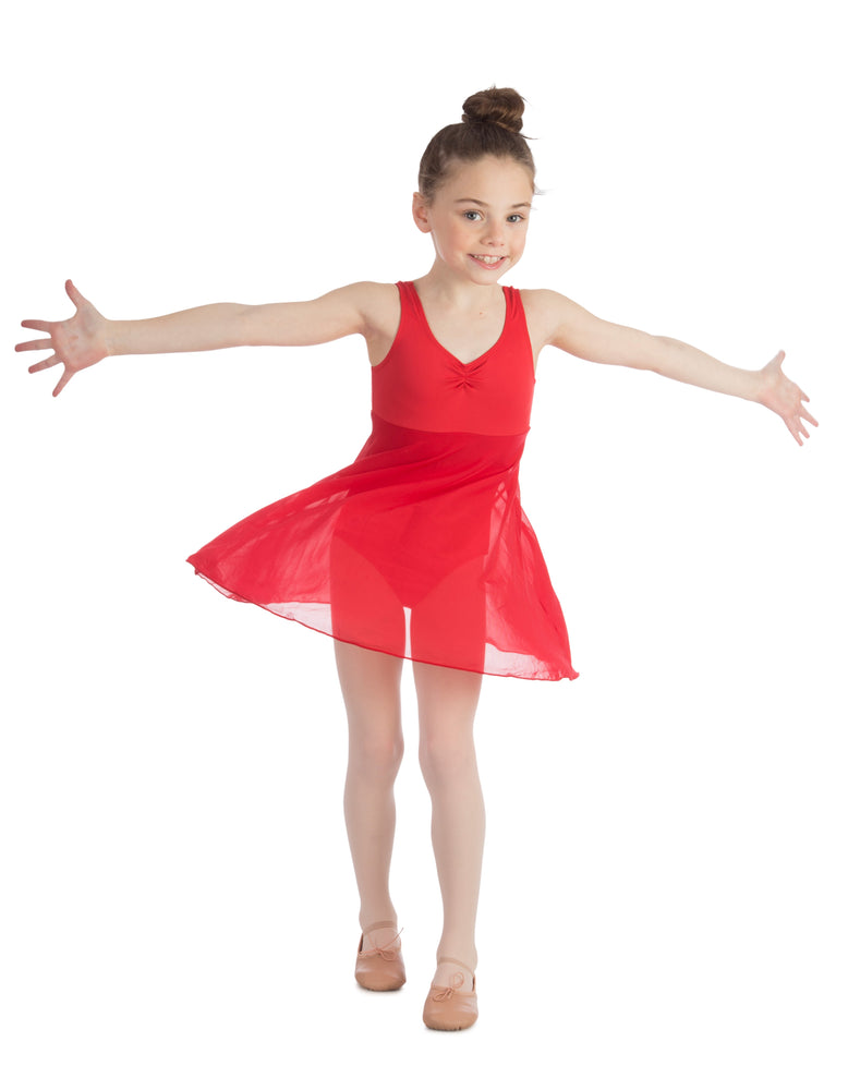 Elowel Kids Girls Empire Leotard Dress  (Size 2-14 Years) Red