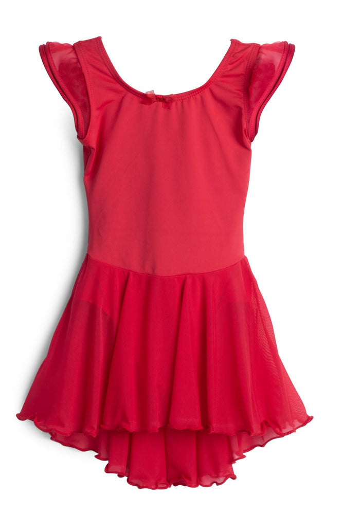 Elowel Kids Girls Flutter Leotard Dress  (Size 2-14 Years) Red