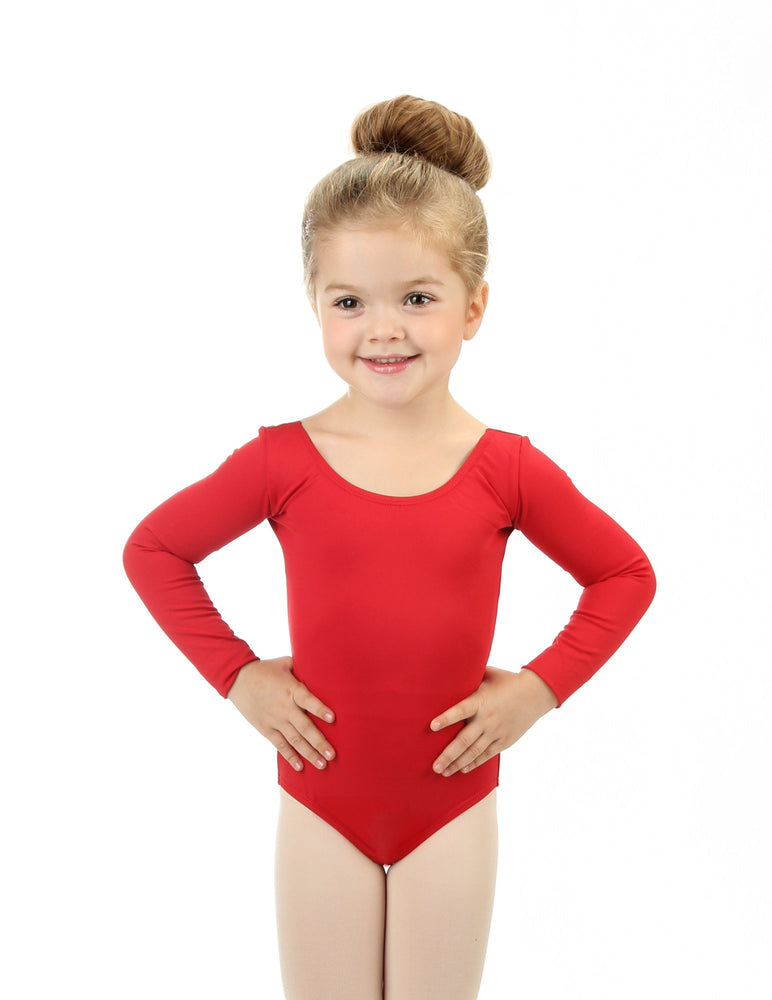 Elowel Kids Girls' Basic Long Sleeve Leotard (Size 2-14 Years)  Red