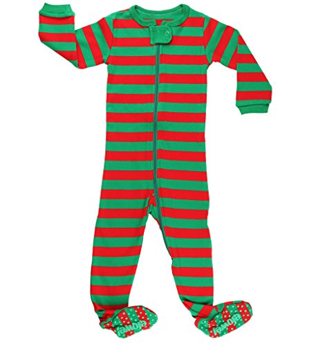 Elowel Baby Boys Girls Footed Christmas Red & Green  Pajama Sleeper Cotton Size 6 Month -5 Years