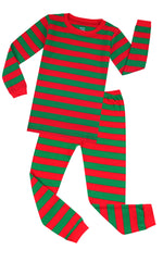 Elowel Boys Girls Christmas Red & Green 2 Piece Kids Pajamas Set 100% Cotton 6M-12Y