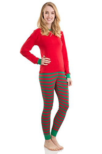 Elowel Adult Womens Mens Red Top & Red Green Pants  Christmas Fitted Pajamas 100% Cotton