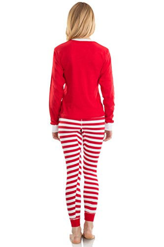 Elowel Adult Womens Mens Red Top & Red White  Pants  Christmas Fitted Pajamas 100% Cotton