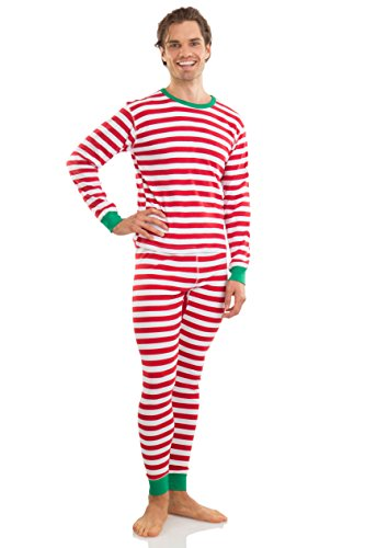 Elowel Adult Womens Mens Red And White  Christmas Fitted Striped Pajamas 100% Cotton