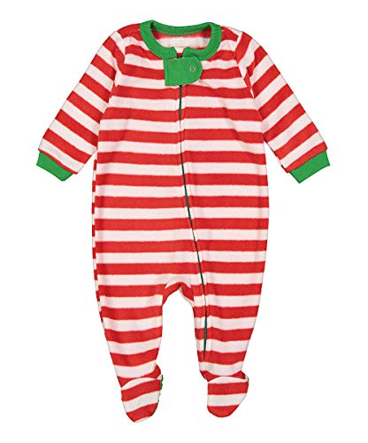 Elowel Baby Boys Girls Footed Fleece Christmas Red & White Pajama Sleeper Size 6M-5Y