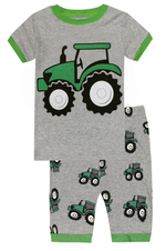 Elowel Boys Shorts Tractor 2 Piece Pajamas Set 100% Cotton (Size Toddler-10Y)