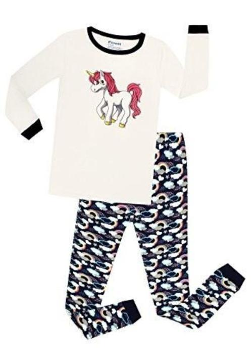 Elowel Girls Kids Unicorn 2 Piece Pajamas Set 100% Cotton (Size 12M-12Y)
