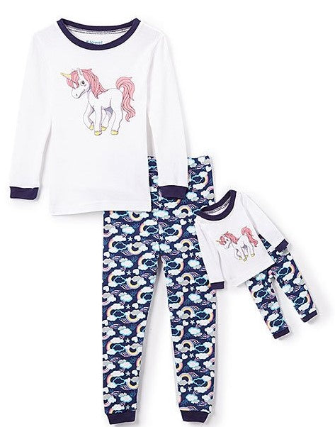 Elowel Unicorn Matching Girls & Doll 2 Piece s Pajamas Set 100% Cotton (Size 12M-12Y)