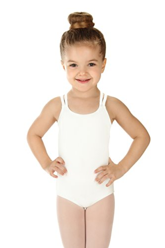 Elowel Kids Girls' Double Strap Camisole Leotard (Size 2-14 Years) White