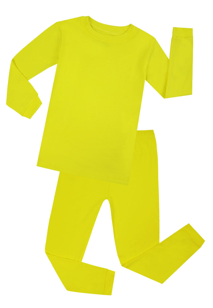 Elowel Boys Girls Yellow Solid 2 Piece Pajama Set 100% Cotton (Size 12 Months -12 Years)