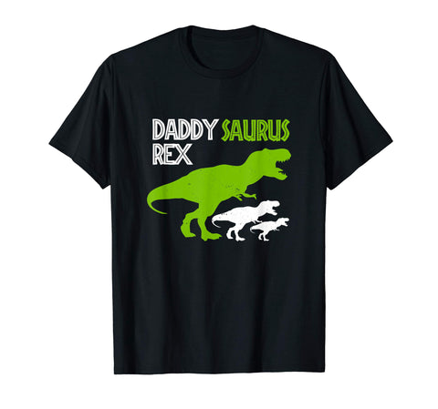 Cool Funny Father's Day Daddysaurus Rex Men's T-Shirt Black