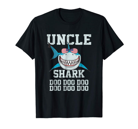 Get Uncle Shark Doo Doo American Flag Fathers Day Gift Men's T-Shirt Black