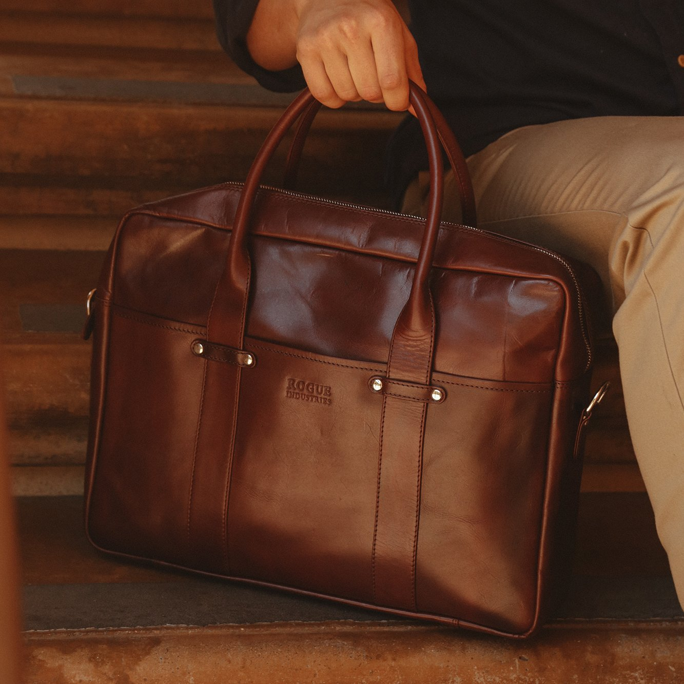 4991f96cf3 Katahdin Unlined Leather Briefcase - Rogue Industries