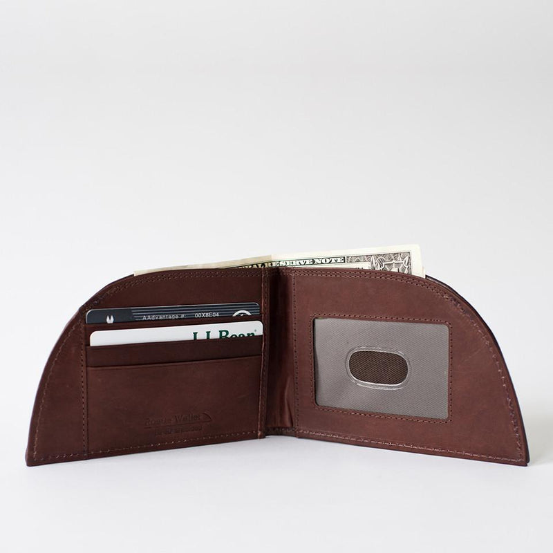 Rogue Front Pocket Wallet in Ballglove Leather Open