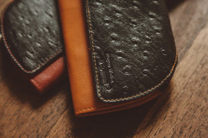 Ostrich Print Clutch Close Up - Rogue Industries