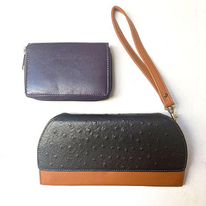 Ostrich Print Clutch and Purple Accordion Wallet Bundle