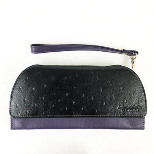 RFID Blocking Clutch - Rogue Industries - Ostrich Print Purple Front