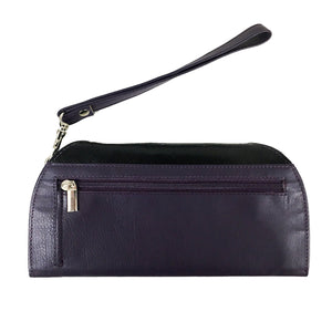 RFID Blocking Clutch - Rogue Industries - Ostrich Print Purple Back