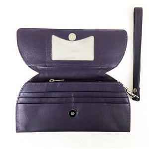 RFID Blocking Clutch - Rogue Industries - Ostrich Print Purple Open