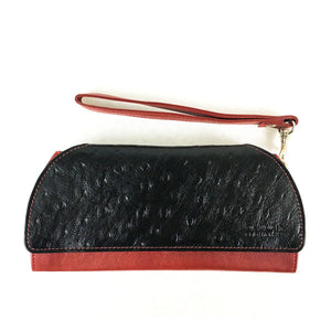 RFID Blocking Clutch - Rogue Industries - Ostrich Print Red Front