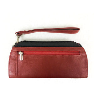RFID Blocking Clutch - Rogue Industries - Ostrich Print Red Back