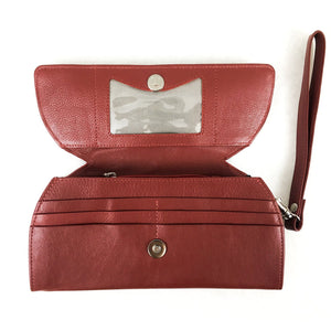 RFID Blocking Clutch - Rogue Industries - Ostrich Print Red Open