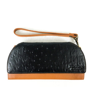 RFID Blocking Clutch - Rogue Industries - Ostrich Print Tan Front