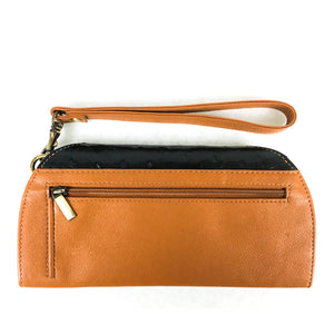 RFID Blocking Clutch - Rogue Industries - Ostrich Print Tan Back