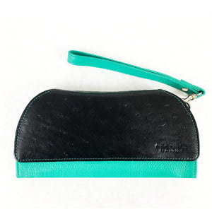 RFID Blocking Clutch - Rogue Industries - Ostrich Print Teal Front