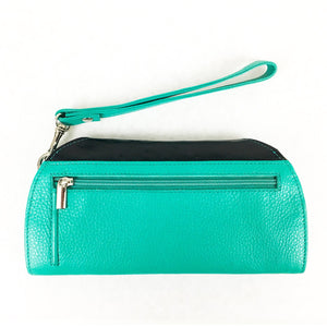 RFID Blocking Clutch - Rogue Industries - Ostrich Print Teal Back