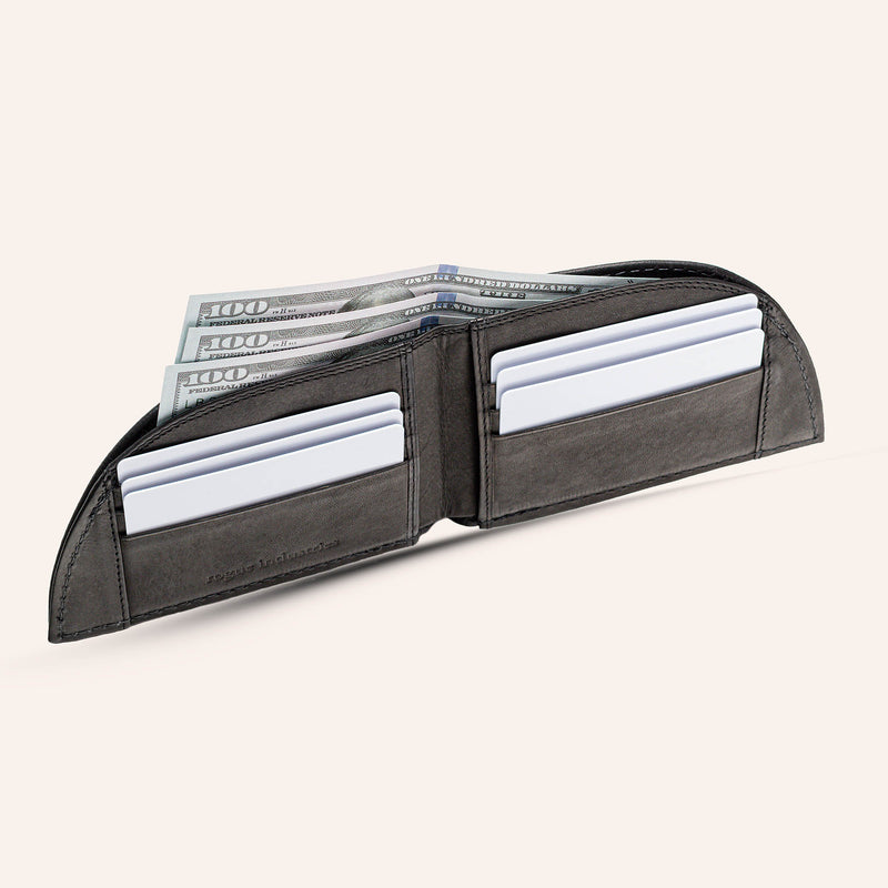 Rogue Front Pocket Wallet in American Bison Leather - Black - 2