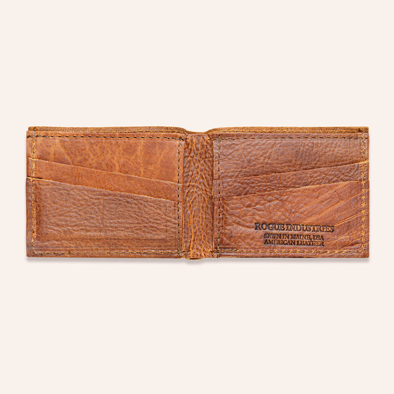 American Bison Leather Wallet - Rogue Industries - Brown Open Empty